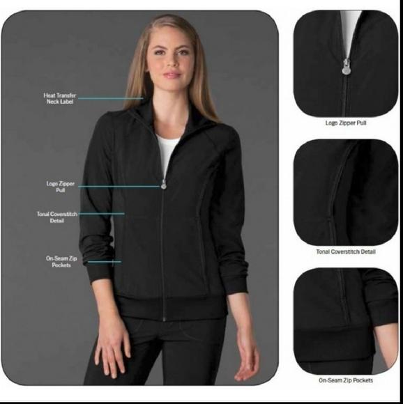 efd6d880599 Cherokee Jackets & Coats | Infinity Black Scrub Warm Up Jacket ... cherokee  infinity